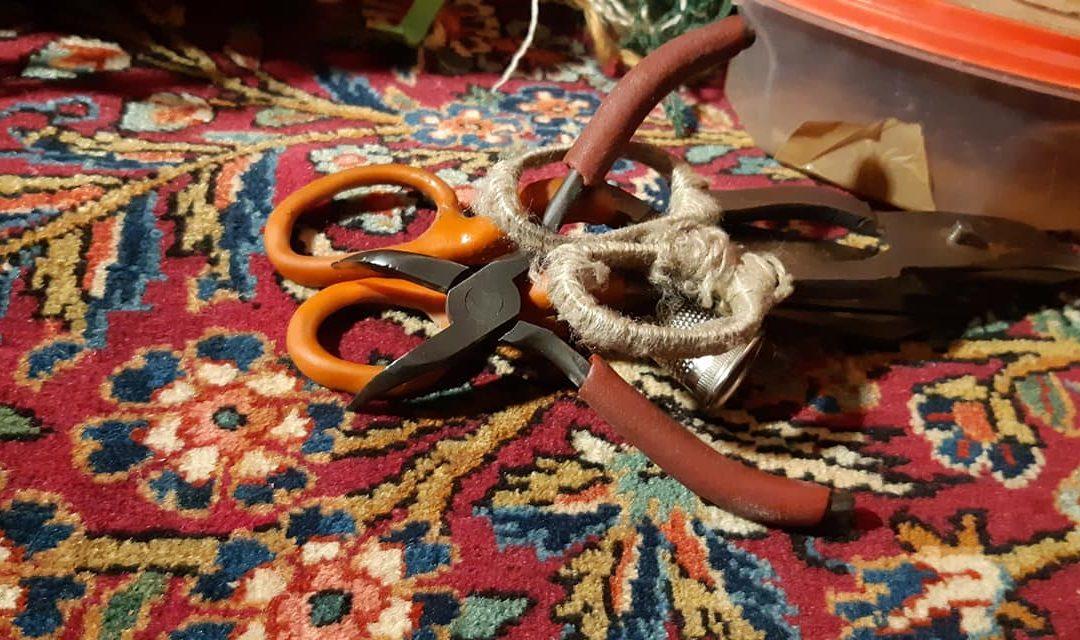 Salotto sui tappeti - dettaglio della lavorazione